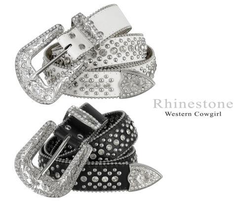 "Rhinestone Western Cowgirl Bling Studded Design Leather Belt 1-1/2""(38mm) Wide"