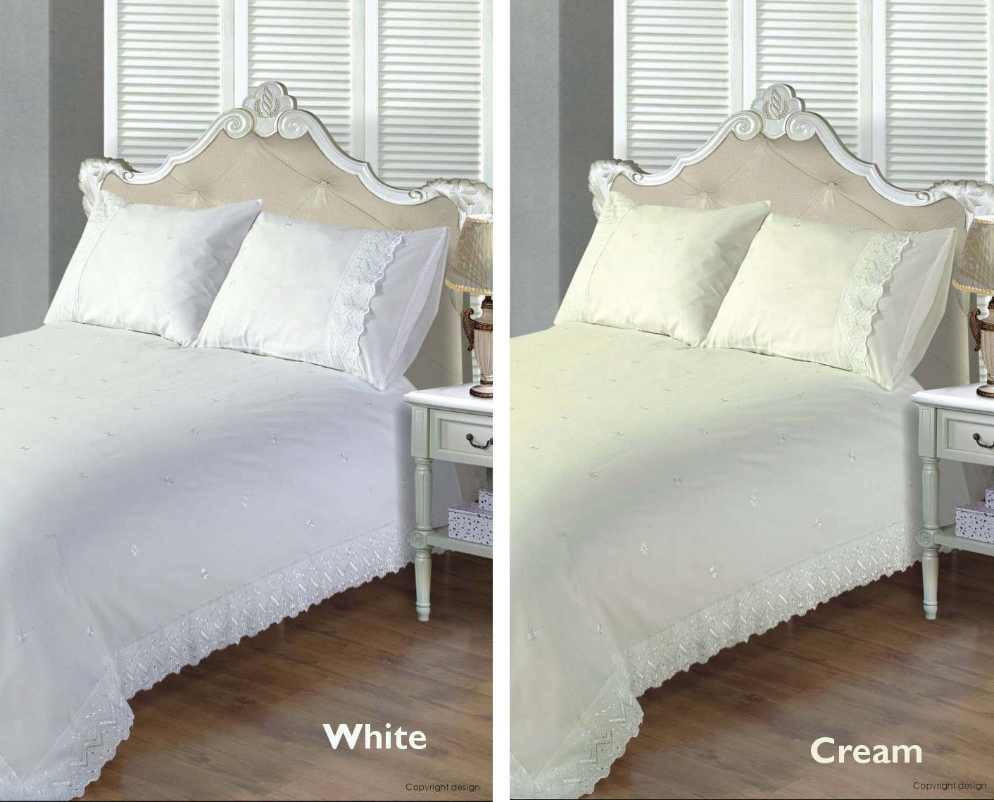 Victoria Traditional Embroidered Duvet Quilt Cover Bedding Sets Cream Or White Ebay
