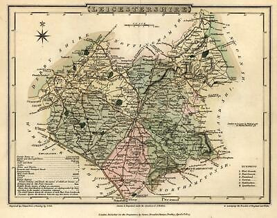 Leicestershire England U.K. 1808 English County engraved map