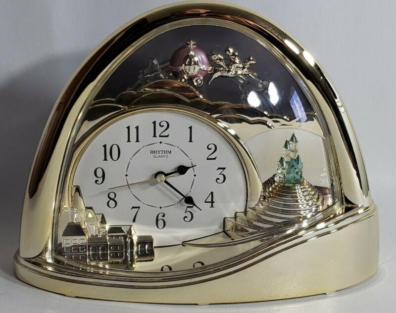 Rhythm Mantel Clock Cinderella Princess Pumpkin Coach Carriage Castle Gold Tone