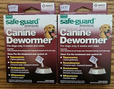 2 BOXS Safe Guard dewormer fenbendazole Dogs 40 lbs 4g 3 Pk