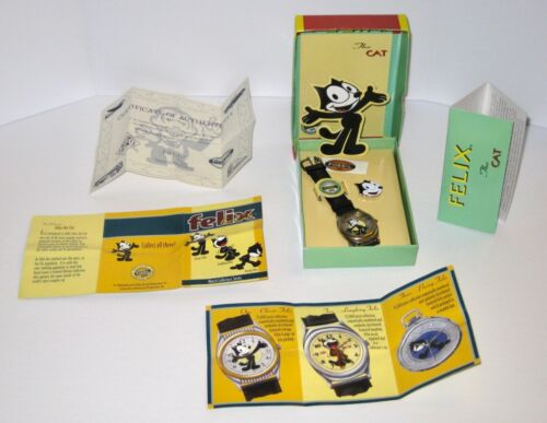 1st FELIX the Cat FOSSIL Watch & Pin COMPLETE w/ All Papers & Box NEW Cond. 1994