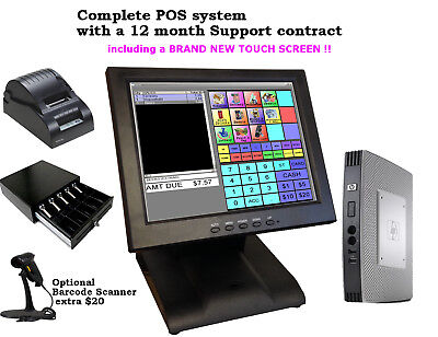 Cash Register Touch Screen Pos System. Restaurant Pizza Retail Barcode Scanning