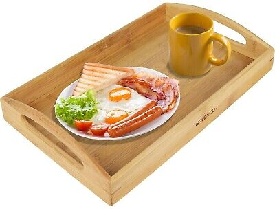 Breakfast Food Serving Tray Platter Rectangle Natural Bamboo  Small With Handles (Small Serving Tray)
