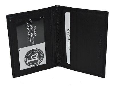 GENUINE LEATHER  2 CLEAR WINDOWS ZIPPER POCKET SLIM MINI WALLET CARD HOLDER NEW