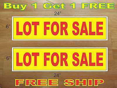 Lot For Sale Yellow Red 6x24 Real Estate Rider Signs Buy 1 Get 1 Free