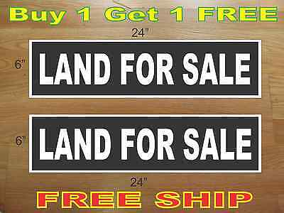 White On Black Land For Sale 6x24 Real Estate Rider Signs Buy 1 Get 1 Free
