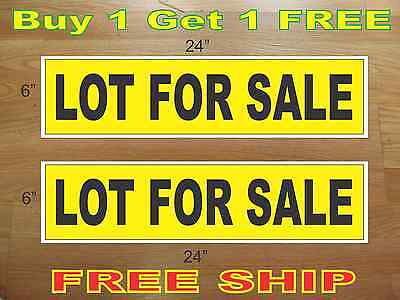 Lot For Sale Yellow Black 6x24 Real Estate Rider Signs Buy 1 Get 1 Free