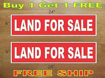 White On Red Land For Sale 6x24 Real Estate Rider Signs Buy 1 Get 1 Free