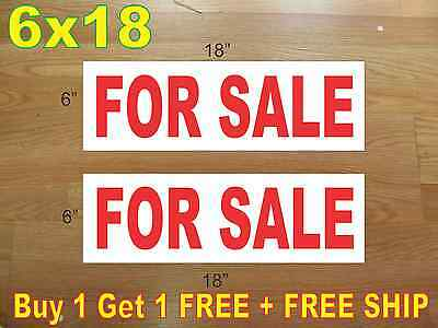 6x18 For Sale Red Real Estate Rider Signs Buy 1 Get 1 Free 2 Sided