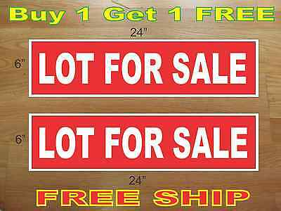 White On Red Lot For Sale 6x24 Real Estate Rider Signs Buy 1 Get 1 Free