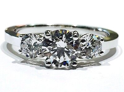 Solid 14K White Gold Round Three-Stone Cubic Zirconia Engagement Ring - 5mm CZ Gold Cubic Zirconia Trio