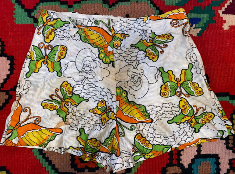 Vintage 1960s 1970s Psychedelic Novelty Butterfly High Waist Hot Pants Shorts