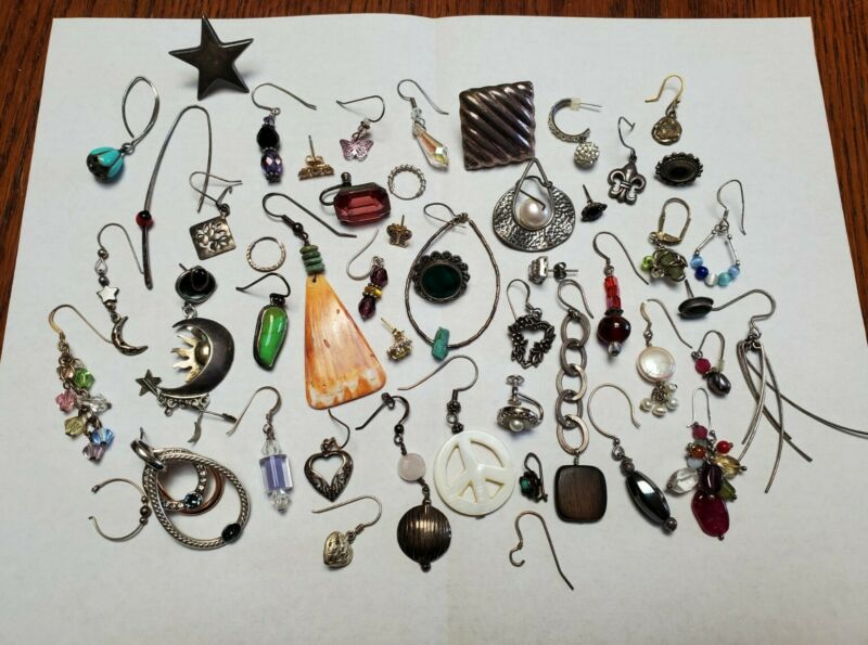 Sterling Silver Single Earring Lot Native American Pearl Turquoise Vintage