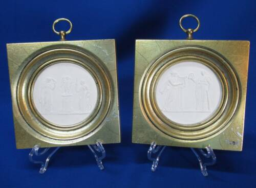 PAIR OF ROUND PORCELAIN PLAQUES WITH CLASSICAL FIGURES GOLD FRAMES
