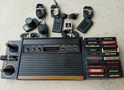 Atari 2600 Heavy Sixer Sunnyvale / CX-10 Joysticks & 20 Games Clean / Tested