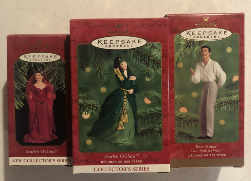 Gone With the Wind lot of 3 Hallmark Ornaments