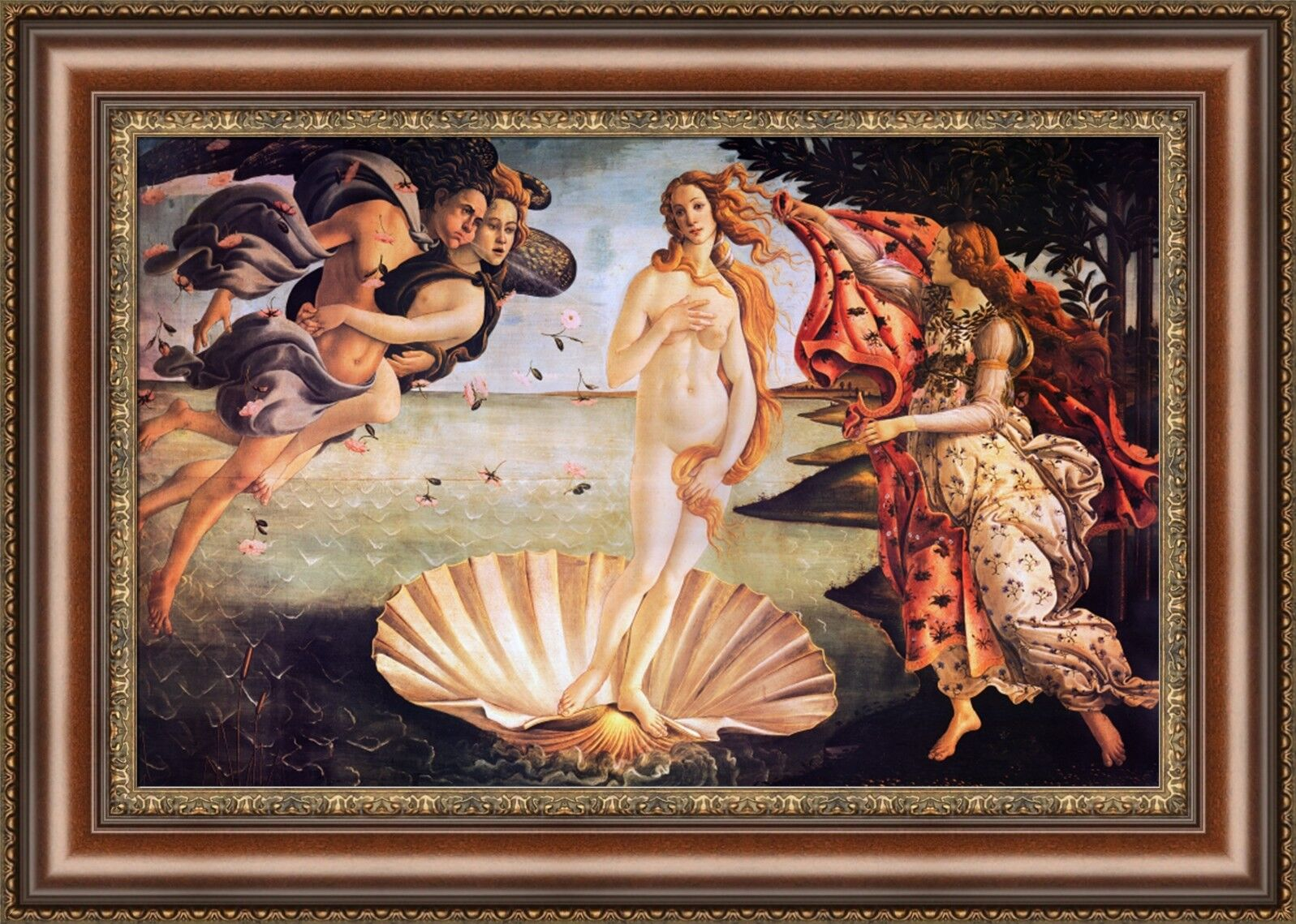 "Sandro Botticelli The Birth of Venus Framed Canvas Giclee Print 27""x19"" (V07-42)"