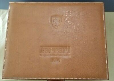 Vintage Schedoni for Ferrari Tan Leather Lock Box w Key Desk Accessories