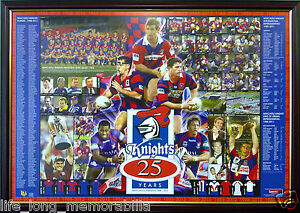 NEWCASTLE-KNIGHTS-25-YEARS-ANNIVERSARY-NRL-POSTER-FRAMED-FULLY-GLASSED