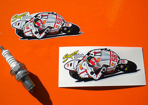Pair of   MARCO SIMONCELLI  58 Fairing stickers 100mm Super sic