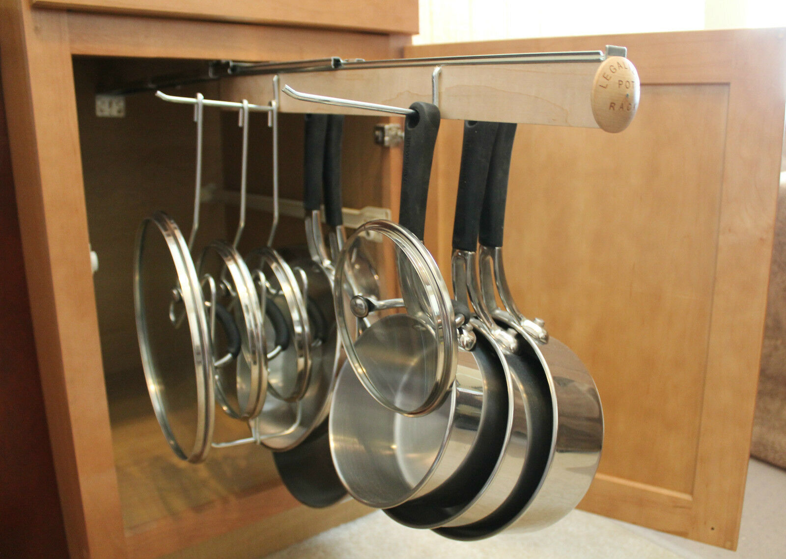 Legalized pot rack h d pull out hanging pot and pan lid rack cookware organizer - Cabinet pull out pot rack ...