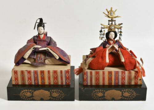 Antique 1800s Japanese Hina Dolls, Emperor & Empress, Edo-Meiji period.