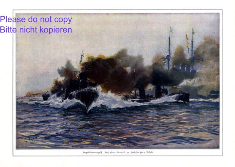 Torpedo boat attack XL 1914 German art print by Hans Bohrdt marine war WW1 +