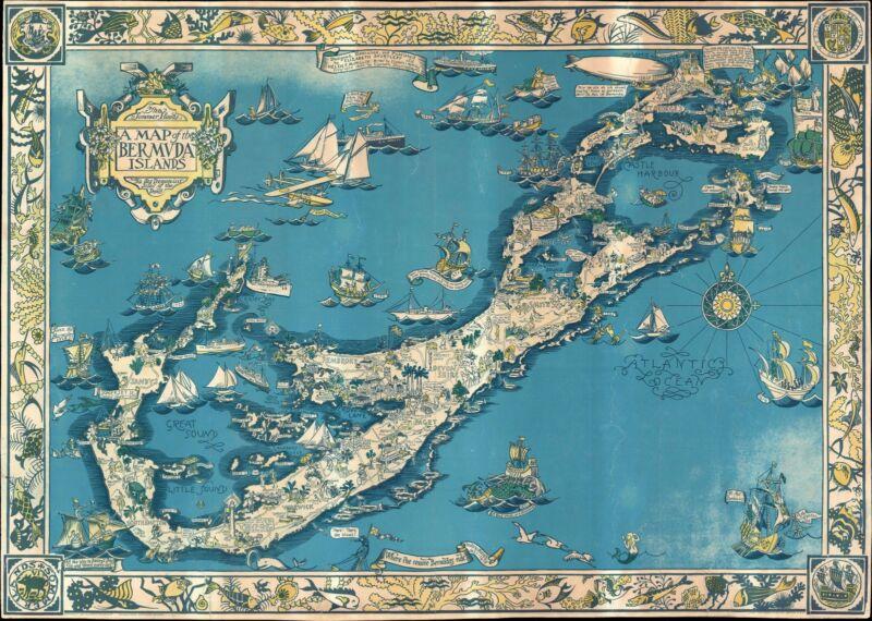 1930 Elizabeth Shurtleff Pictorial Map of Bermuda (Bermuda Islands)