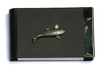 Koi Carp Design Black Pu And Metal Business Or Credit Card Holder Gift 206