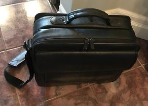 Black leather computer / briefcase