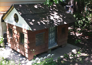 """Artisan wooden dog house, 45"""" by 55"""", 150$ or best offer"""