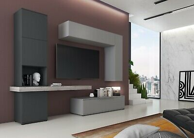 Parete attrezzata mobile porta TV salotto soggiorno con colonna grafite e grigio