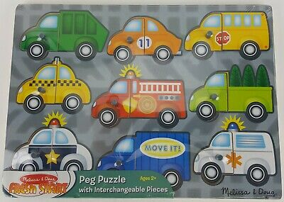 PEG PUZZLE AGES 2+ MELISSA AND DOUG VEHICLES MIX & MATCH CAR TRUCK AUTO](Melissa And Doug Cars)