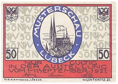 Notgeld Lübeck Musterschau Nordische Woche 50 Pfennig E, Wappen