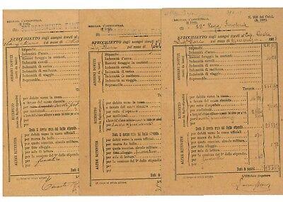 32° REGGIMENTO FANTERIA SPECCHIETTO ASSEGNI 1908 STIPENDIO CAPITANO 4 BUSTE PAGA