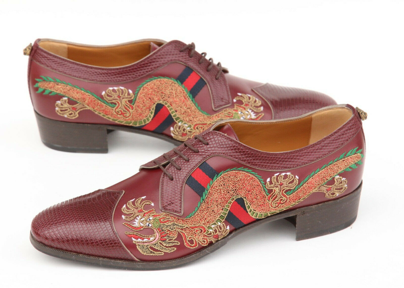 GUCCI Dragon Embroidery Lizard Cap Toe Oxford Mens Shoes UK 95 US 10