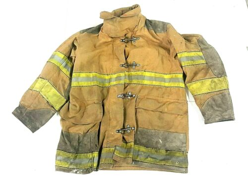 42x35 Brown Globe Firefighter Turnout Jacket Coat Yellow Tape -  No Liner JNL-43