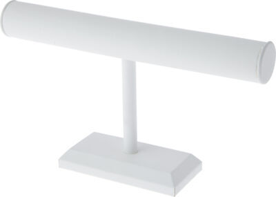 Plymor White Faux Leather T-bar Bracelet Display Stand 12 X 6.75 Pack Of 3