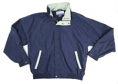 Vintage 90s Champion Mens XL Nylon Full Zip Up Jacket Blue Hidden Hood Spell Out