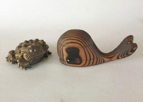 Carved CRYPTOMERIA AkitaWood TOAD FROG Glass Eyes + WHALE figurine Japan Vintage
