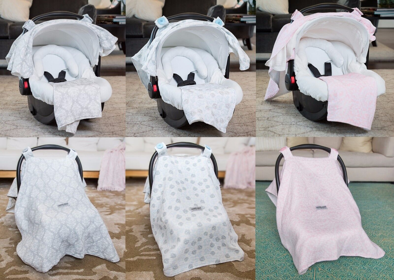 THE WHOLE CABOODLE MUSLIN 5 PC SET CAR SEAT CANOPY COVER BAB