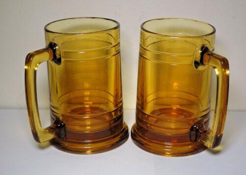 VINTAGE BEER MUGS DRINKING GLASSES AMBER BARWARE STEINS 12OZ HONEY GOLD KEG