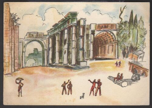 WWII Postcard Compliments of American Red Cross Service Clubs Italy #2 G Tosti