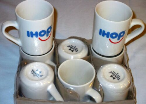NEW IHOP Happy SMILEY FACE Logo COFFEE MUG, Restaurant White Diner Cup TUXTON 18