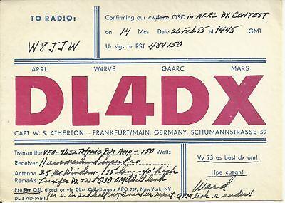 OLD VINTAGE DL4DX FRANKFURT GERMANY AMATEUR RADIO QSL CARD