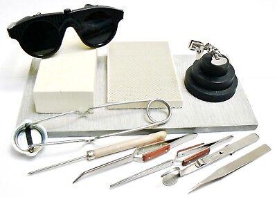 Schmuckschachteln Löten Set Werkzeugen Materialen Magnesiumoxid Block Pinzetten ()