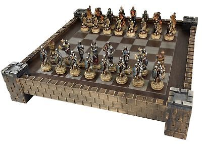 SKELETON SLAYER GOTHIC FANTASY SKULL Chess Set W/ Castle Board