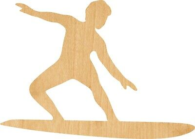 Surfer #1460 Laser Cut Out Wood Shape Craft Supply -