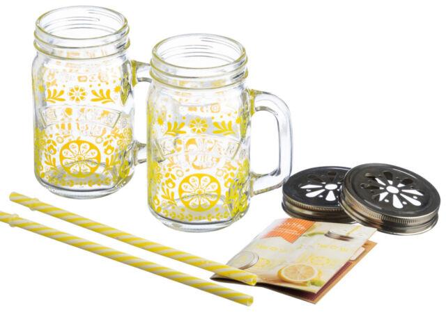 Kilner 7 Piece Lemonade Set Handled Mason Jars Mugs Lids & Straws & Recipe Book